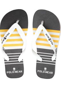 Chinelo Polo Wear Listrado Branco