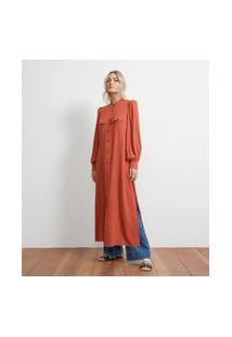 Camisa Alongada Em Viscose Com Bolsos Frontais | Atelier | Laranja | G