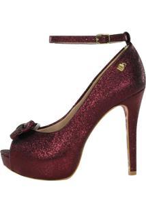 Peep Toe Salto Alto Week Shoes Meia Pata Glitter Marsala