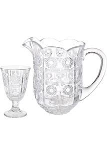 Conjunto 7 Peças De Vidro 1 Jarra 1,4L E 6 Taças 226Ml Starry - Bon Gourmet - Transparente