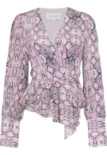 Les Reveries Snake Print Draped Blouse - Rosa