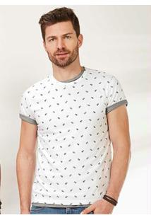 Camiseta Branca Slim Malha Abacaxis Malwee