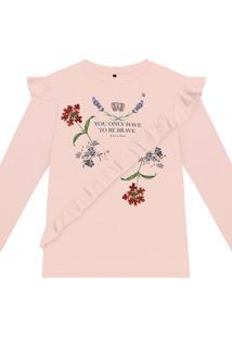Blusa Malha Com Estampa E Babado Rosa Shale - Lez A Lez