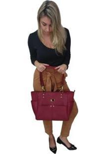 Bolsa Couro Sacola Topgrife Shopper Feminina - Feminino-Bordô