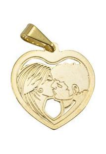 Pingente Coração Com Casal Tudo Joias Folheado A Ouro 18K - Feminino-Dourado