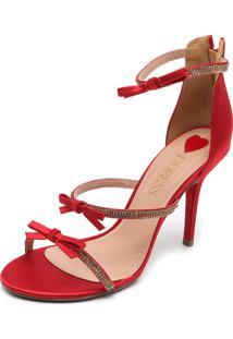 Sandália D.Dress Festa Cetim Lacinhos Vermelha