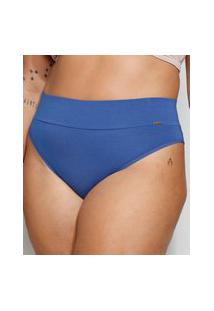 Calcinha Plus Size Love Secret Caleçon Cintura Alta Compressão Azul