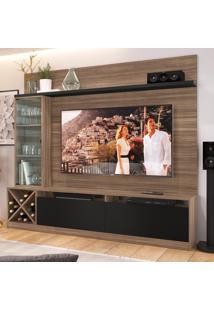 Rack Com Painel Para Tv Até 50 Polegadas 2 Portas 2021 Mn/Ptx Montana/Preto - Quiditá Móveis