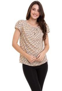 Blusa Estampada Com Pregas Feminino - Feminino-Bege