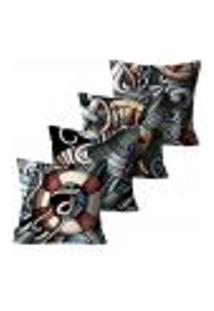 Kit Com 4 Capas Para Almofadas Premium Cetim Mdecore Formas Colorida 45X45Cm
