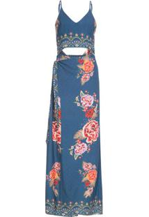 Vestido longo caminho oriental azul