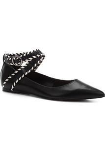 Sapatilha Couro Shoestock Bico Fino Nomade Crafts Feminina - Feminino-Preto