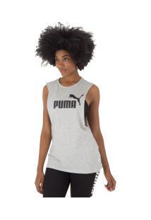 Camiseta Regata Puma Essentials Cut Off - Feminina - Cinza Claro