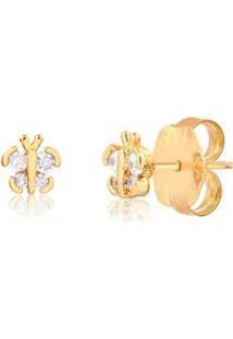 Brinco Francisca Joias Borboleta Pequena Com Zircônias Folheado Em Ouro 18K - Feminino-Dourado
