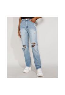 Calça Jeans Feminina Cintura Alta Reta Destroyed Azul Claro