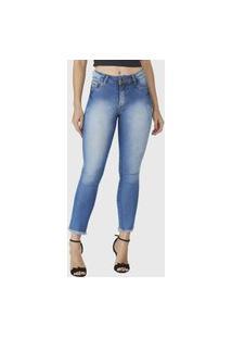 Calça Cropped Jeans Zuren Skinny Used Azul