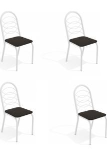 Conjunto Com 4 Cadeiras De Cozinha Holanda Branco E Preto