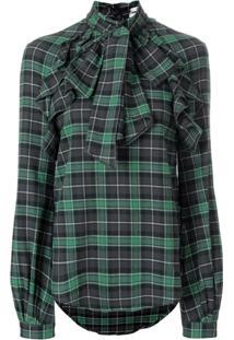Dsquared2 Blusa Com Laço Na Gola Xadrez - Verde