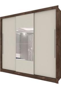 Guarda Roupa Genebra 3 Portas Com Espelho Cumaru Rústico Off White