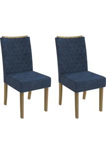Cadeiras Kit 2 Cadeiras Cad129 Freijó/Azul Marinho - Kappesberg