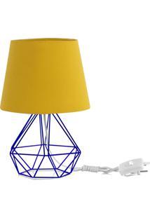 Abajur Diamante Dome Amarelo Mostarda Com Aramado Azul - Azul - Dafiti