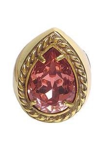 Anel Armazem Rr Bijoux Cristal Swarovski Gota Rosa Dourado