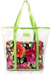 Bolsa Jacki Design 2 Em 1 Tropicana Feminina - Feminino-Verde+Preto