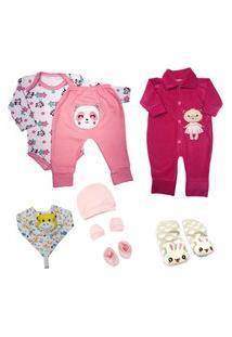 Kit 8 Pçs Roupa Para Bebê Enxoval Body Mijão Menino E Menina Rosa