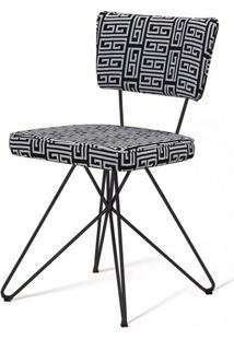 Cadeira Pop Retro Estampa Maze Base Estrela Preta - 49598 - Sun House