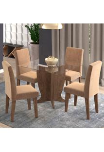 Conjunto De Mesa Com 4 Cadeiras Para Sala De Jantar 100X100 Luana/Milena-Cimol - Marrocos / Pluma