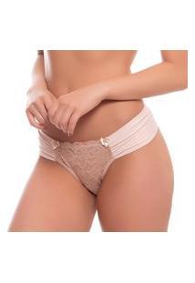 Calcinha Modelo Boneca Fio Dmauli Microfibra Drapeada Em Renda E Forro De Algodão Nude