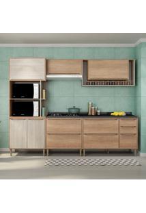 Cozinha Compacta C/Tampo Allure05 Fosco – Fellicci - Carvalho / Blanche