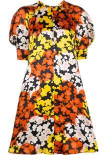 Mcq Alexander Mcqueen Vestido De Seda Com Estampa Floral - Laranja