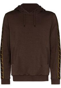 Fendi Logo Stripe Drawstring Hoodie - Marrom