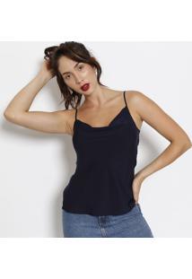Blusa Lisa Com Regulagem- Azul Marinho- Estilo Hestilo H