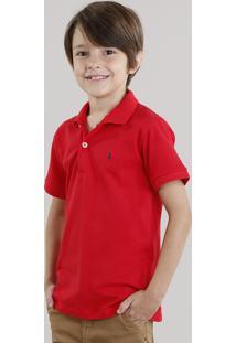 Polo Infantil Em Piquet Com Bordado Manga Curta Vermelho