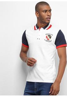 Camisa Polo Eagle Rock Bicolor Manga Curta Masculina - Masculino-Branco