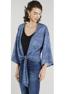 Kimono Feminino Curto Estampado Com Nó Azul