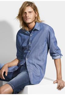 Camisa Jeans Masculina Manga Longa Em Algodão Com Lavação Escura