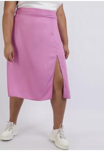 Saia Feminina Plus Size Midi Com Fenda Rosa
