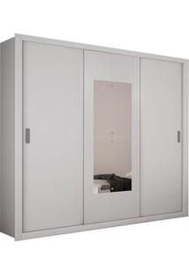 Armário 3 Portas De Correr Com Espelho Bipartido, Branco, Munique Premium