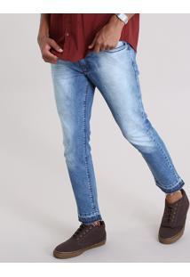 Calça Jeans Skinny Cropped Em Algodão + Sustentável Azul Médio