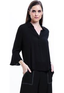 Camisa 101 Resort Wear Lisa Viscose Polo Mangas Flare 34 Preta