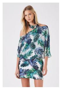 Vestido Seda Blusa Ampla Palmeira Exotic