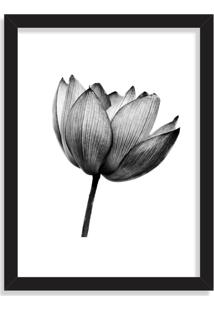 Quadro Decorativo Flor De Lotus Black And White Preto - Médio