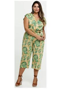 Macacão Feminino Pantacourt Estampa Tropical Plus Size