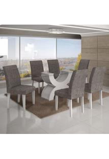 Conjunto Sala De Jantar Mesa Tampo Vidro 180Cm E 6 Cadeiras Olímpia New Leifer Branco/Linho Cinza