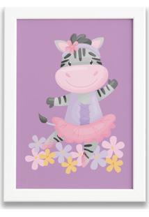 Quadro Bailarina Zebra Para Menina Moldura Branca 22X32Cm