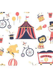 Papel De Parede Infantil Circo Branco E Vermelho (950X52)