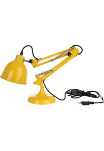 Luminária Articulada De Mesa Amarela